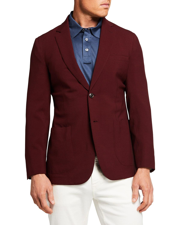 Men's Seersucker Two-Button Blazer