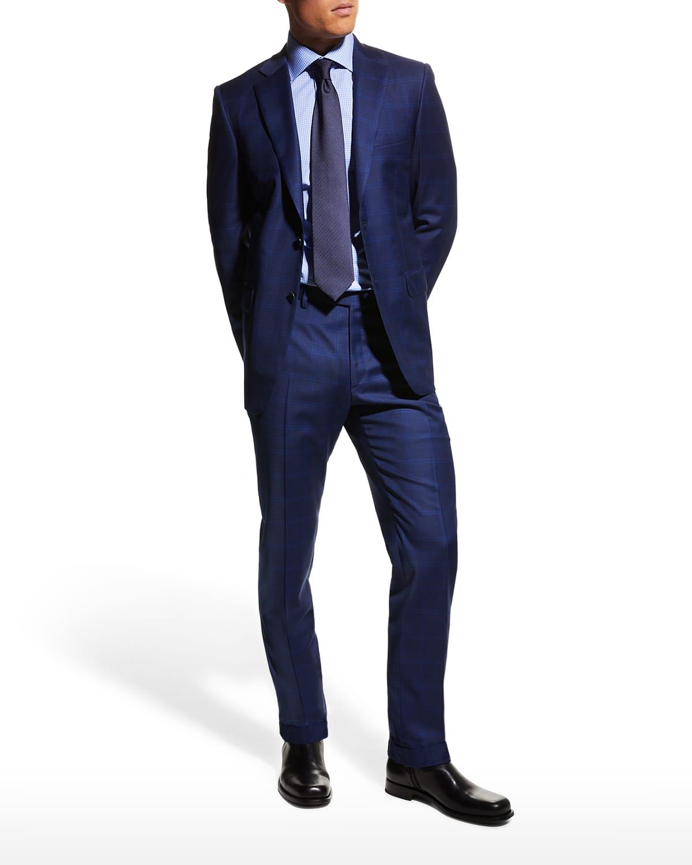 Men's Double Windowpane Wool Suit
