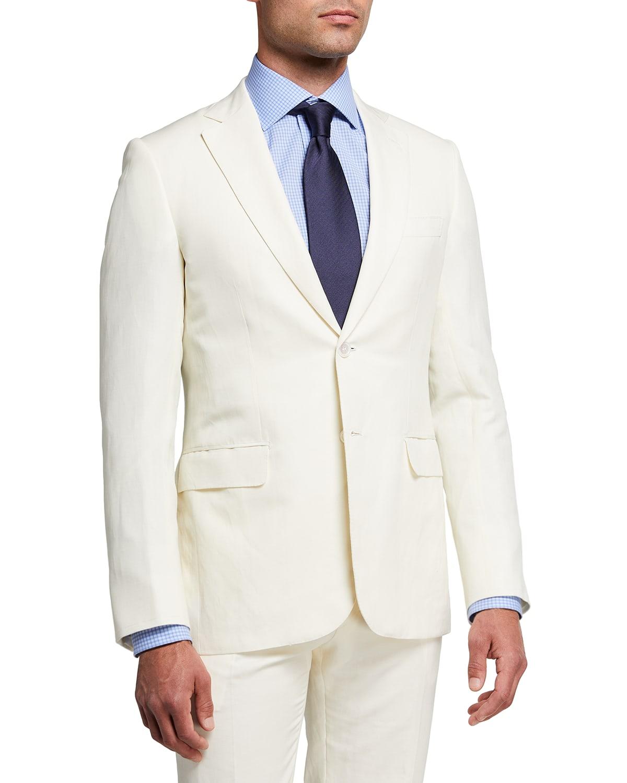 Men's Creme Wool-Linen Suit
