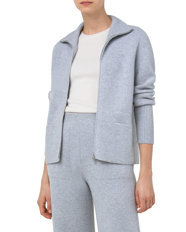 Zip-Front Cashmere Pique Knit Cardigan