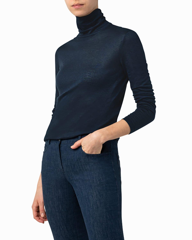 Mock-Neck Cashmere-Silk Long-Sleeve Top
