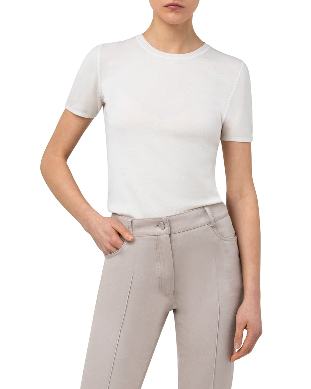 Cashmere-Silk Short-Sleeve Top