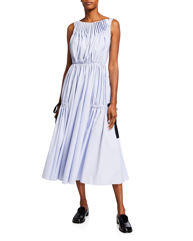 Sleeveless Pleated Midi Dress w/ Ties