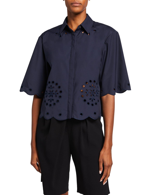 Cropped Button-Down Shirt w/ Eyelet Detail