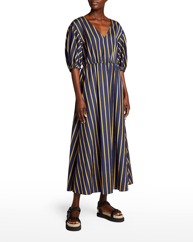 Balloon-Sleeve V-Neck Striped A-Line Long Dress