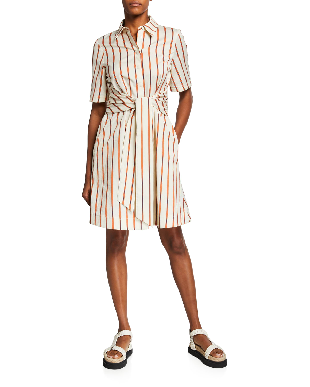 Striped Tie-Back Shirtdress