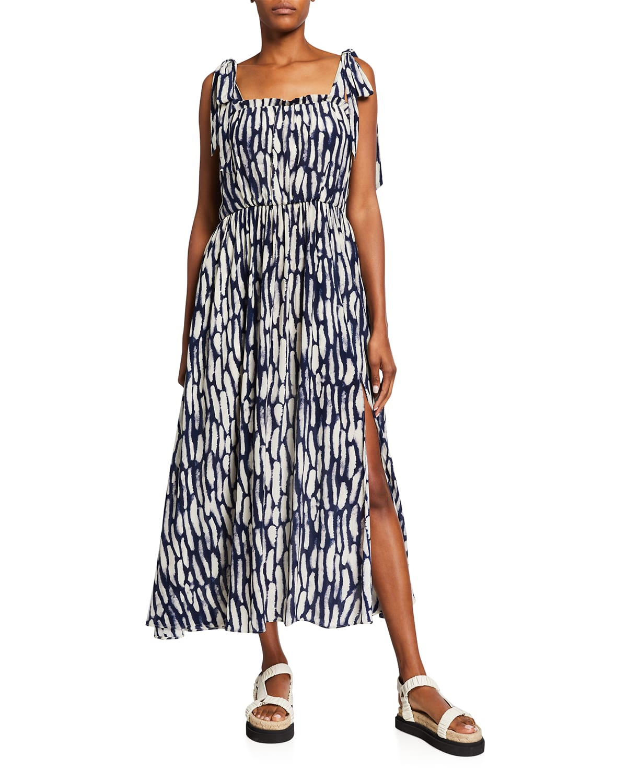 Sleeveless Maxi Dress w/ Shoulder Ties