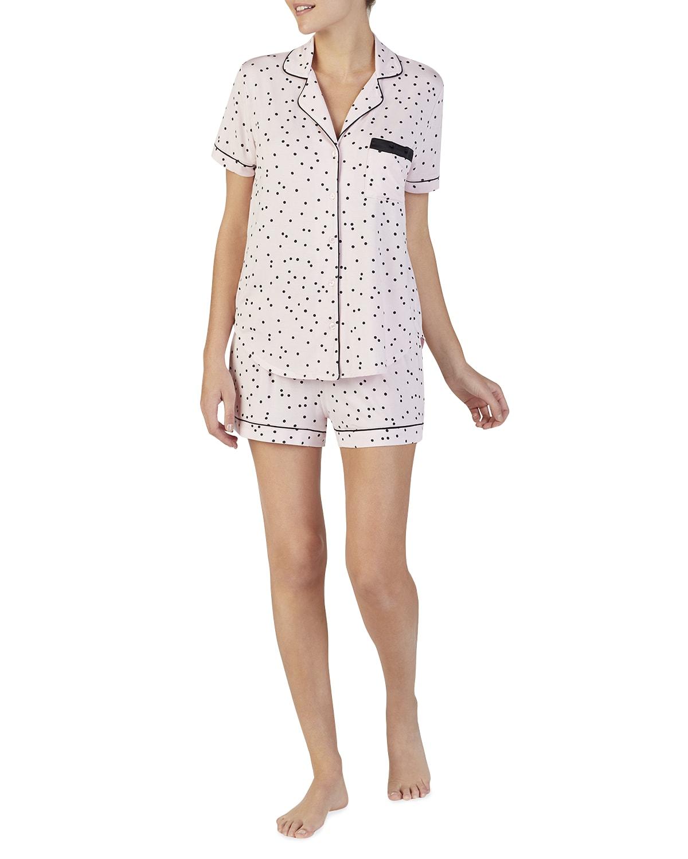 evergreen scattered dot short pajama set