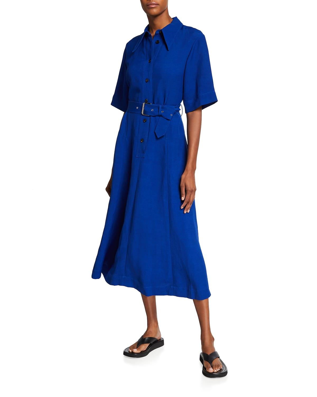 Belted A-Line Maxi Shirtdress
