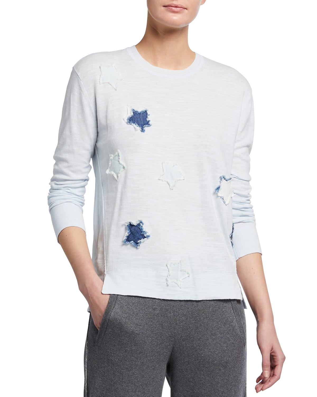 Plus Size Superstar Frayed Applique Cotton Sweater