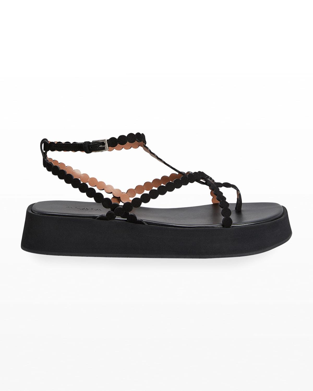 Dot Leather Ankle-Strap Platform Sandals