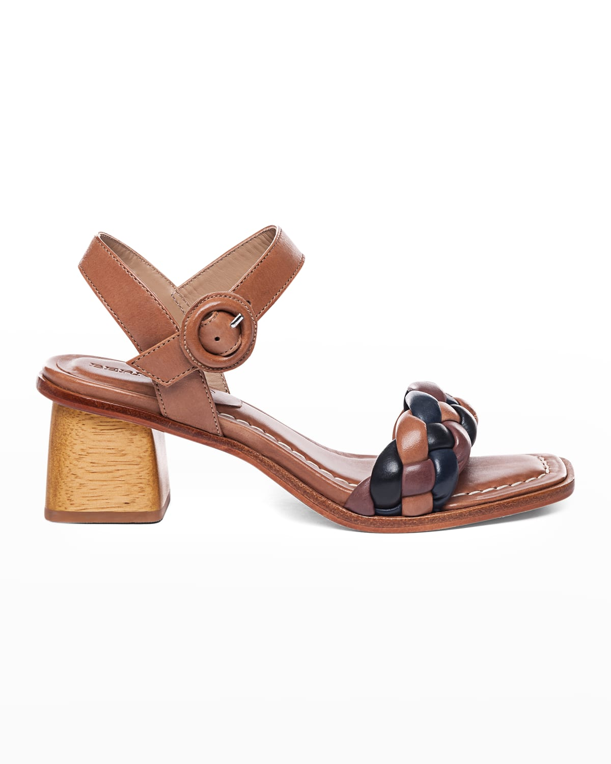 Braided Ankle-Strap Mid-Heel Sandals