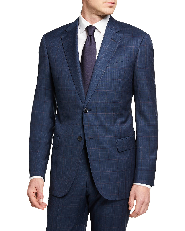 Men's Two-Piece Windowpane Super 130s Suit