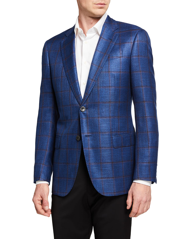 Men's Windowpane Viscose Sport Coat