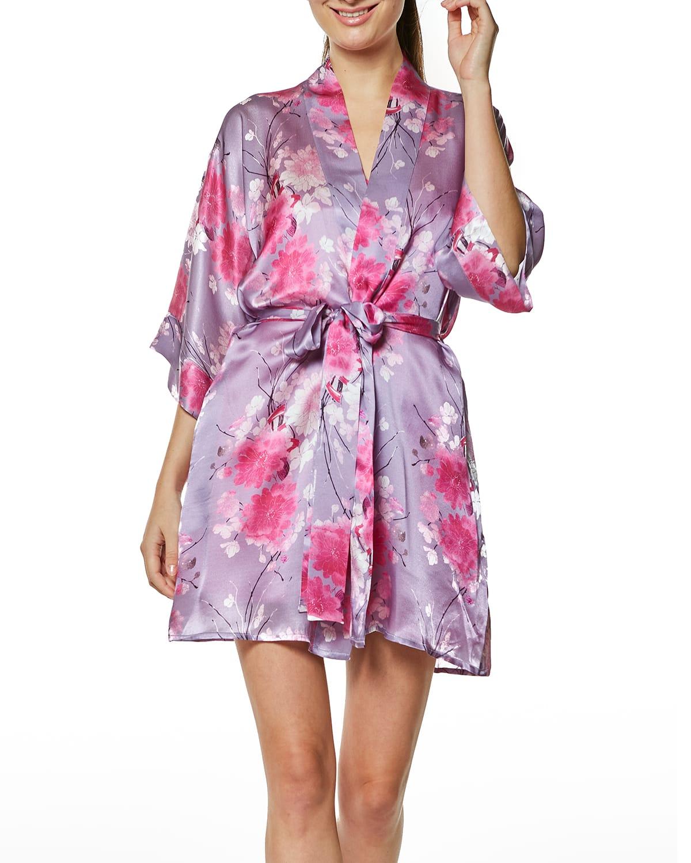 Spring Posy Short Silk Robe