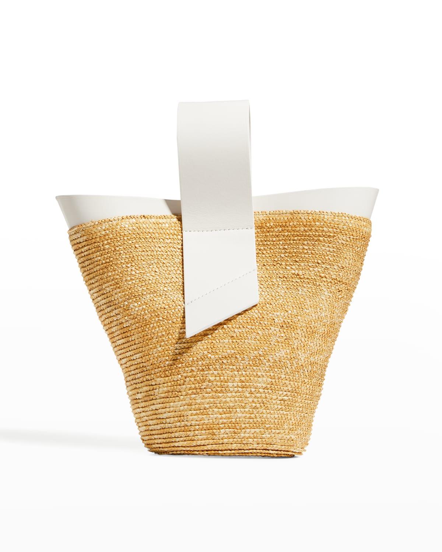 Amphora Straw & Leather Top-Handle Crossbody Bag
