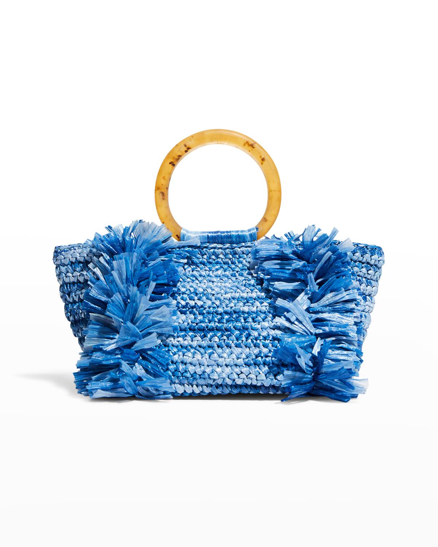 Corallina Raffia Ring-Handle Raffia Tote Bag