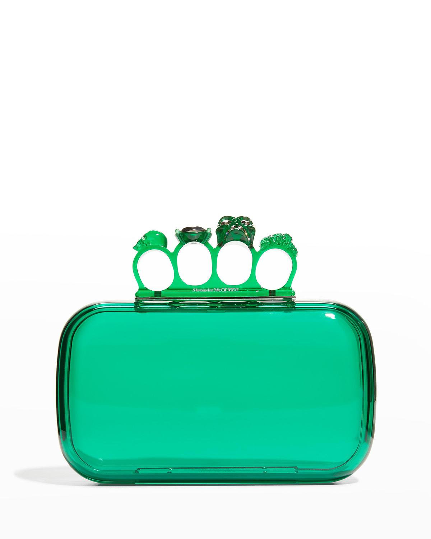 Alexander McQueen Four-Ring Skull Plexiglass Clutch Bag