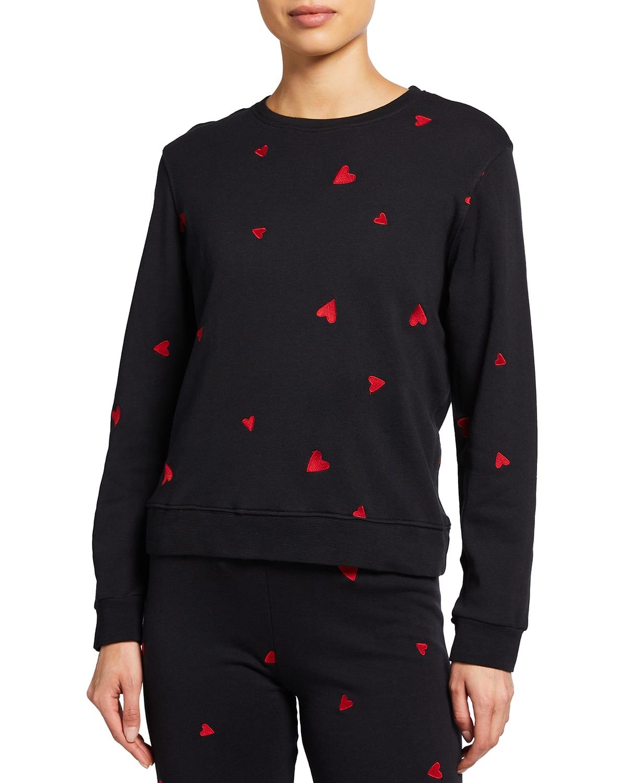 Allover Embroidered Heart Sweatshirt