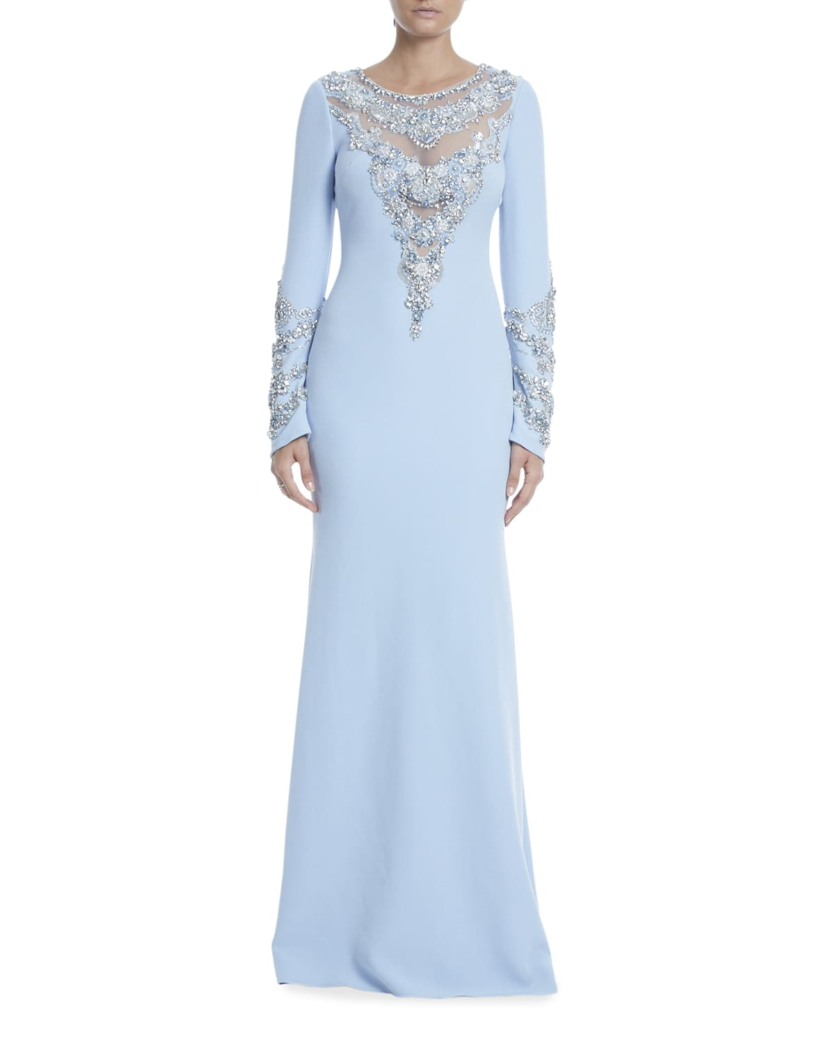 Long-Sleeve Beaded Illusion Gown