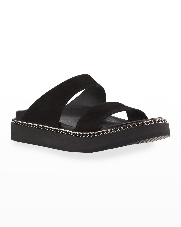 Men's Ryan 10 Suede Slide Sandals w/ Chain-Trim