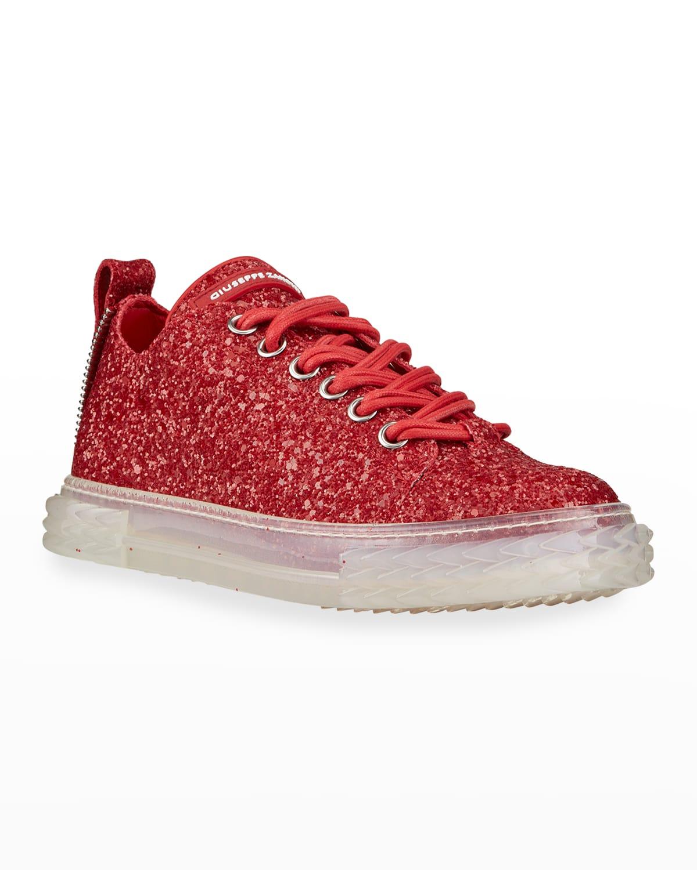 Men's Blabber Glitter Leather Clear-Sole Sneakers