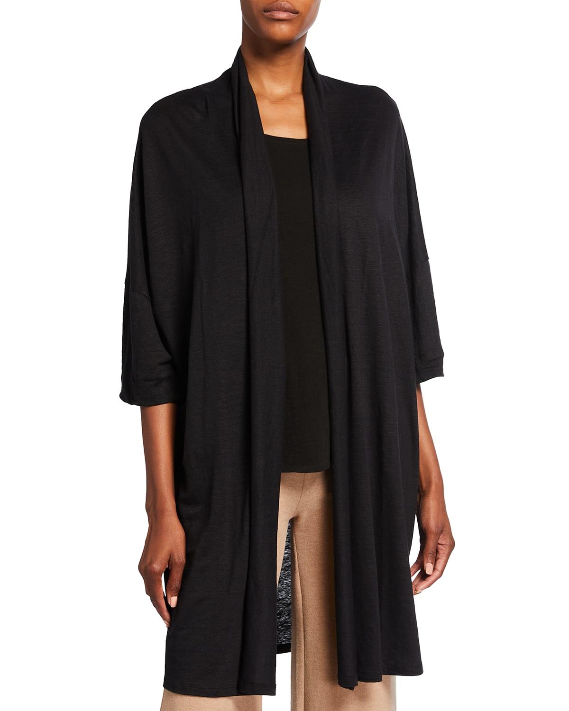 Linen Open-Front Long Cardigan
