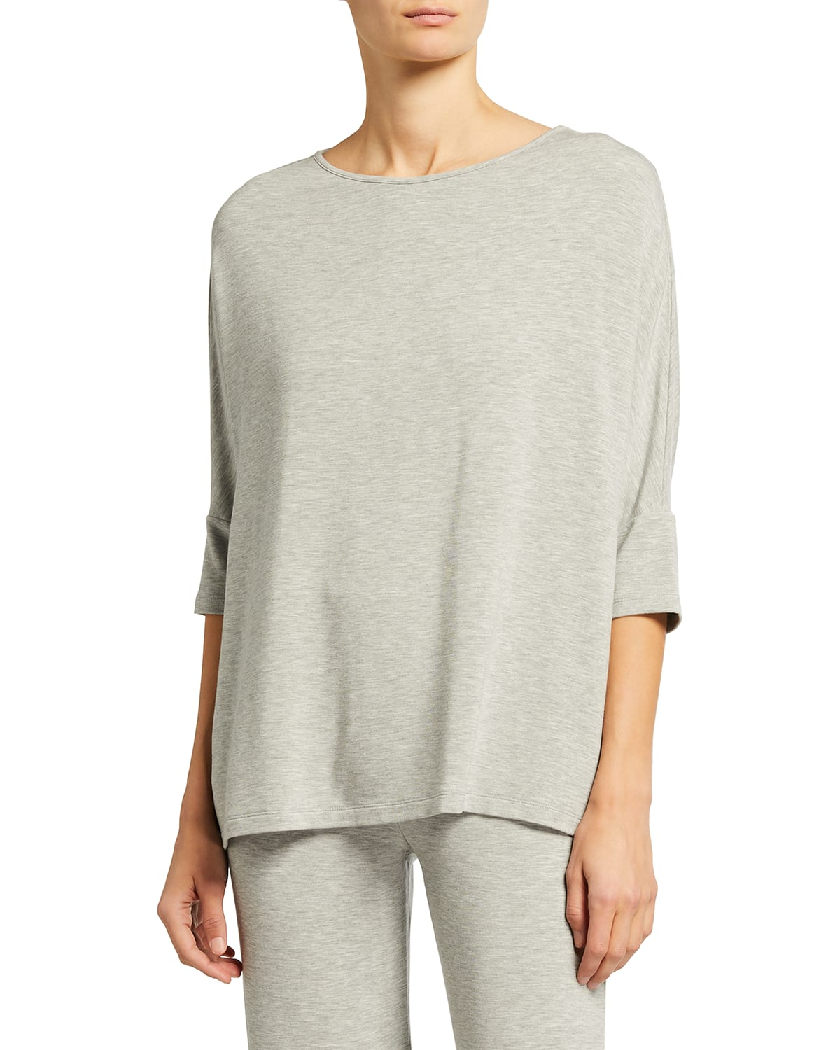 French Terry 3/4-Sleeve Boat-Neck Top