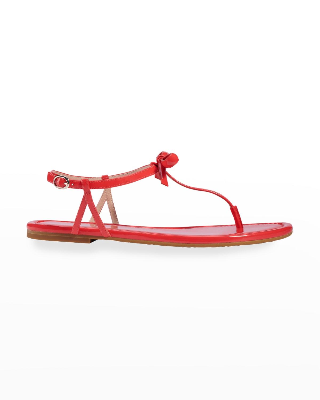 piazza bow t-strap flat sandals