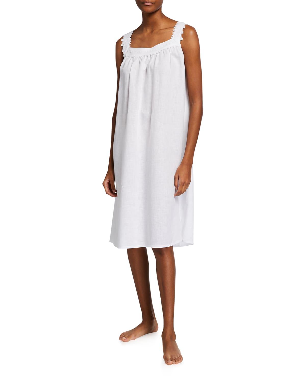 Claudine 1 Linen-Cotton Sleeveless Nightgown