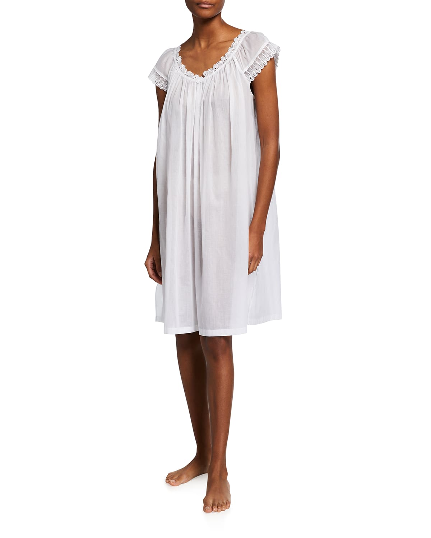 Amina 2 Cap-Sleeve Short Cotton Nightgown