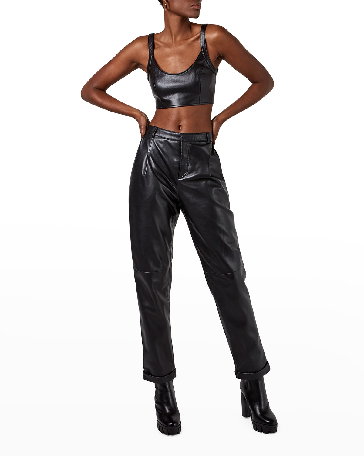 The Denise Recycled Leather Ankle Trousers