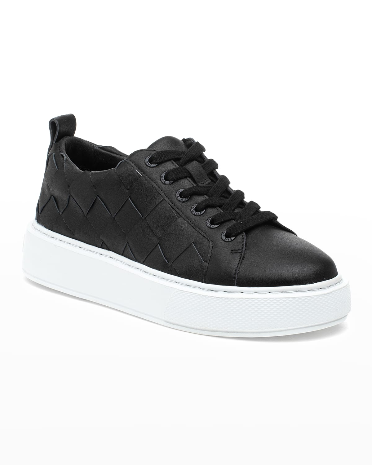Dede Woven Leather Low-Top Sneakers
