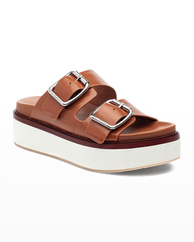 Bowie Nubuck Dual-Buckle Slide Sandals