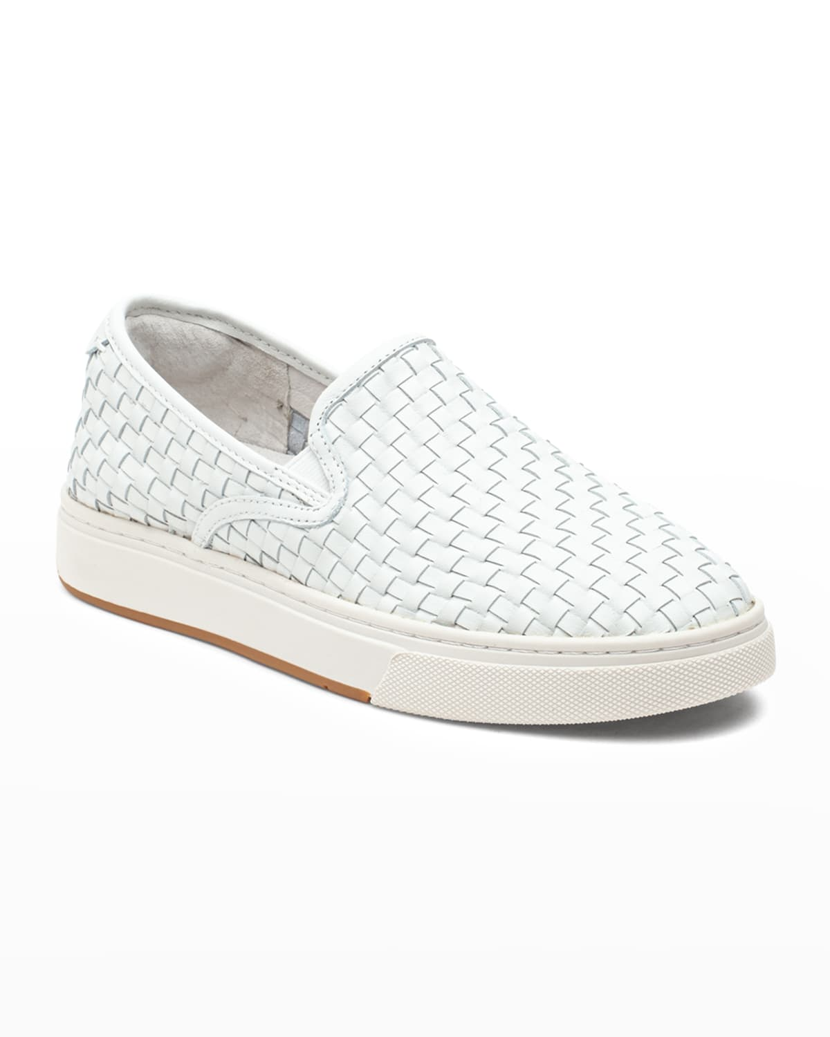 Justine Woven Leather Slip-On Sneakers