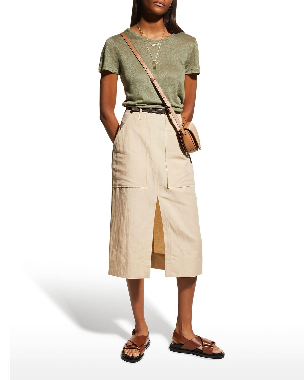 Crewneck Short-Sleeve Linen T-Shirt