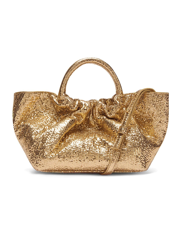 Mini Los Angeles Pleated Metallic Top-Handle Bag