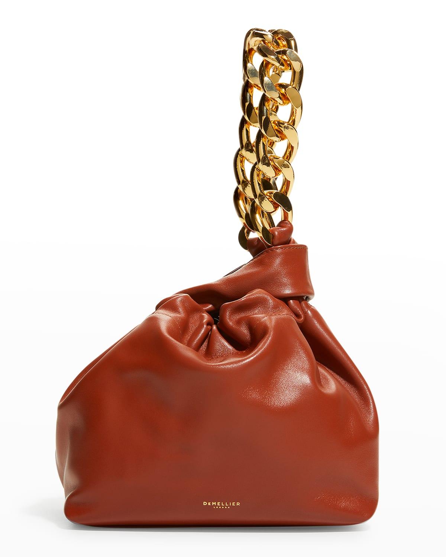 Santa Monica Leather Top-Handle Bag w/ Chain