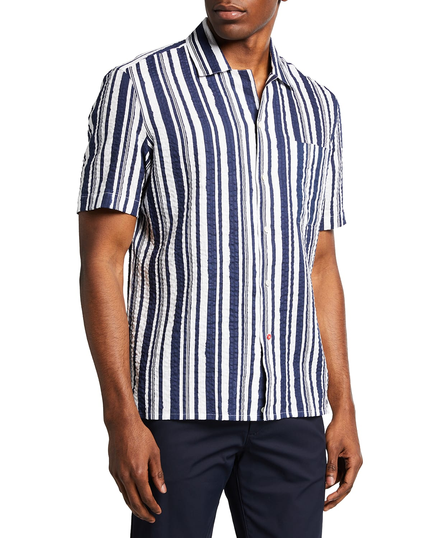 Men's Painted Stripe Short-Sleeve Sport Shirt