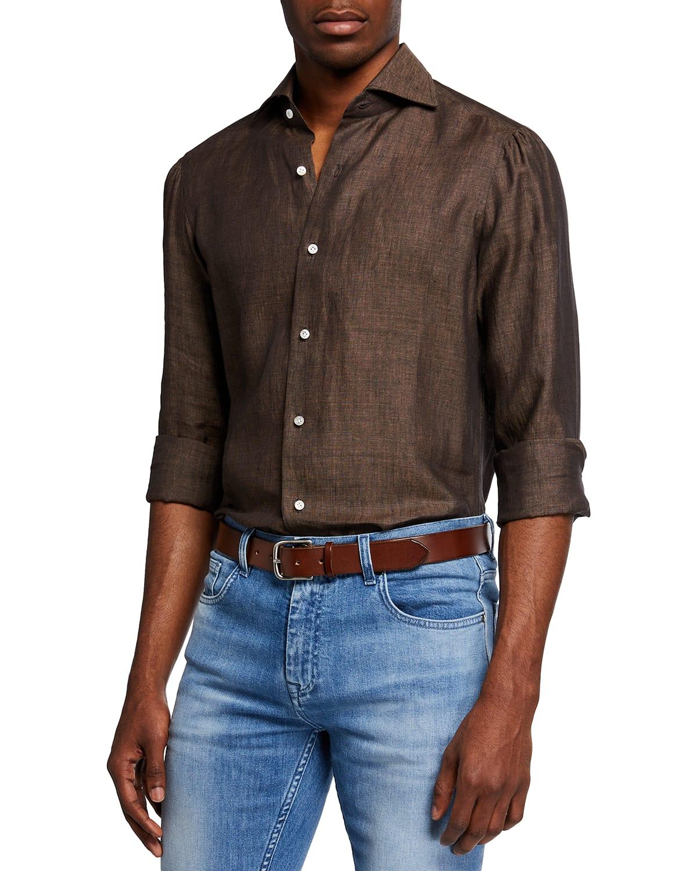 Men's Solid Linen Sport Shirt