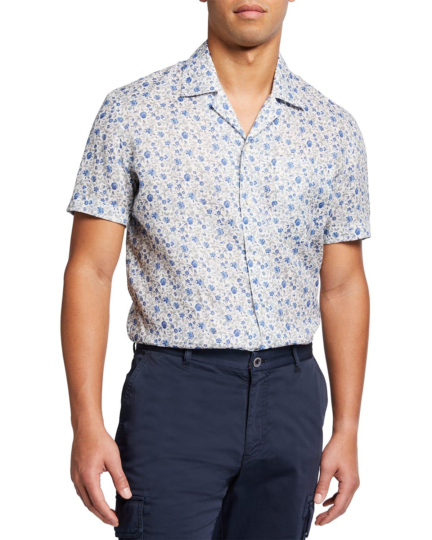 Men's Floral Short-Sleeve Sport Shirt