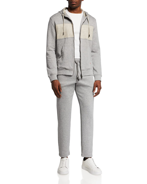 Men's Heathered Linen-Blend Track Suit