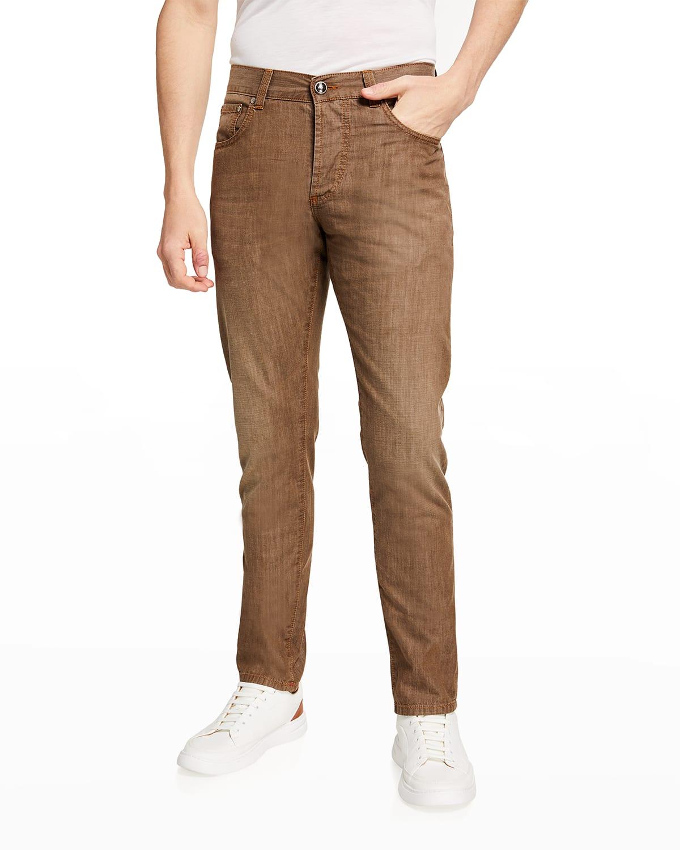 Men's Brown-Wash Straight-Leg Jeans