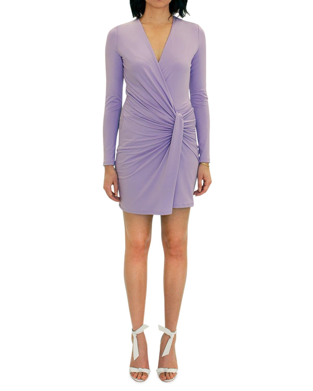 Abina Drape-Front Long Sleeve Mini Dress