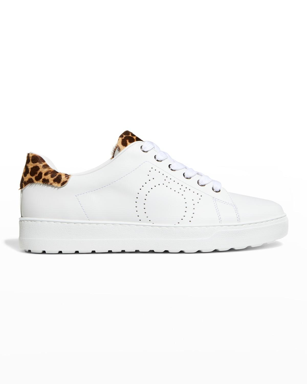 Pierre Gancino Low-Top Sneakers w/ Leopard Trim