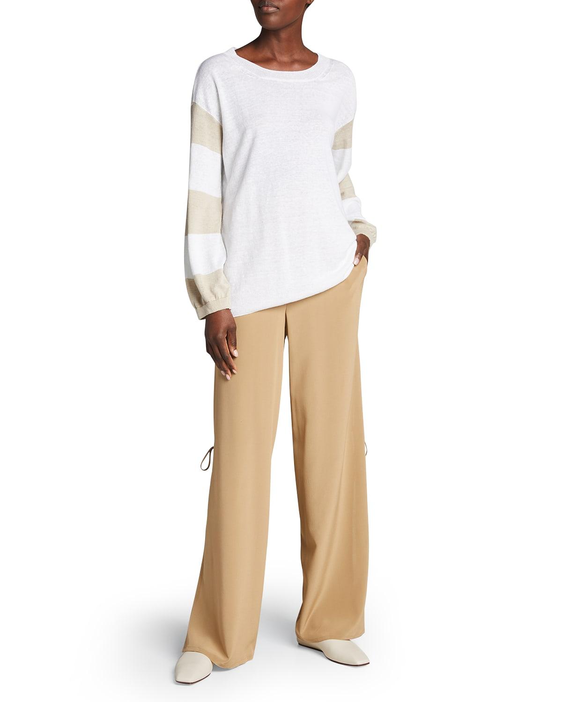 Solid Silk Wide-Leg Slit Beaded Self-Tie Pants