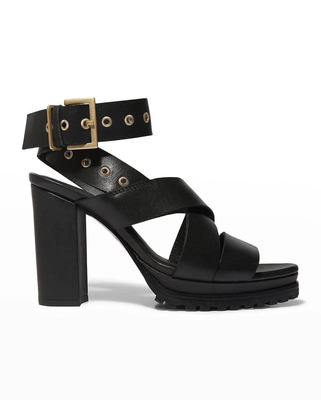 Sienna Leather Block-Heel Sandals