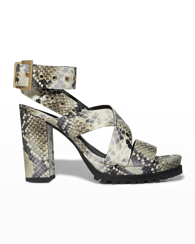 Sienna Snake-Print Leather Block-Heel Sandals