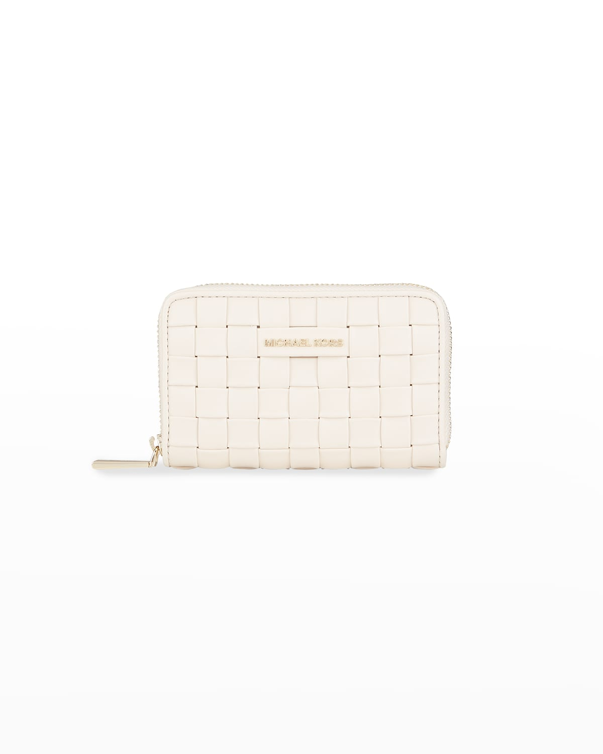 Jet Set Woven Leather Zip Card Case