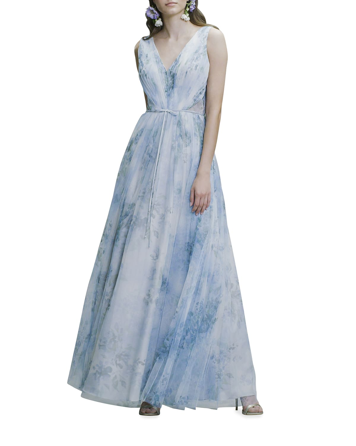 Watercolor Printed Tulle Ruched A-Line Gown
